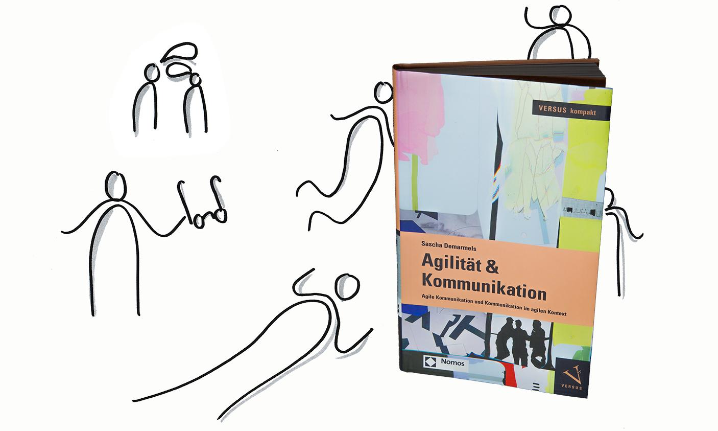 Buch von Sascha Demarmels zu Agilität und Kommunikation (Buchcover und Figuen, die das Buch lesen)