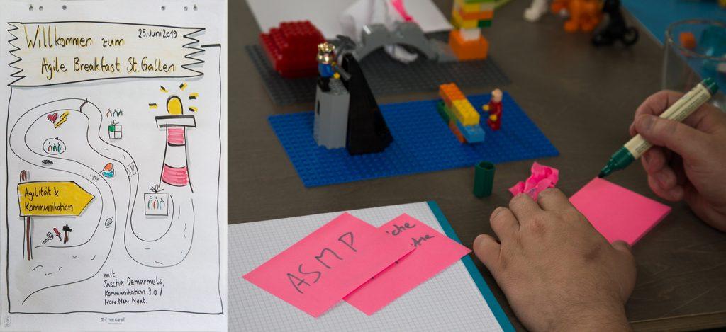Links ein Flipchart aus einem Workshop zum Agile Breakfast St. Gallen zum Thema Agilität und Kommunikation. Rechts Blick über die Schulter eines Teilnehmers in einem Workshop mit Klebezetteln und Stift.