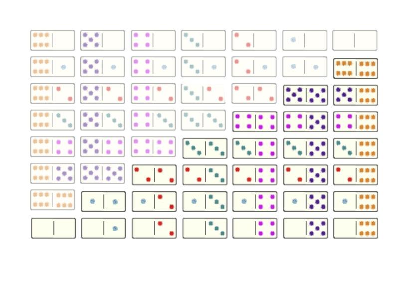 Zwei Sets von Dominosteinen
